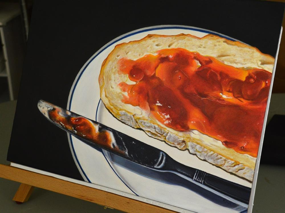 """Bread with Strawberry Jam"" original fine art by Kim Testone"