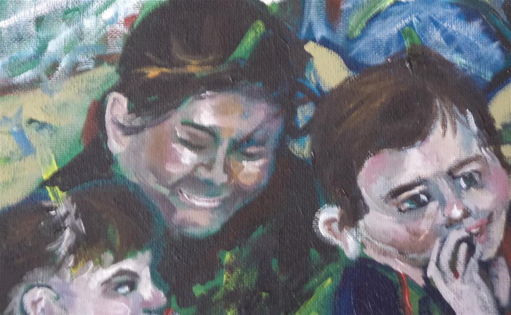 """Mother and children read a book"" original fine art by tara stephanos"