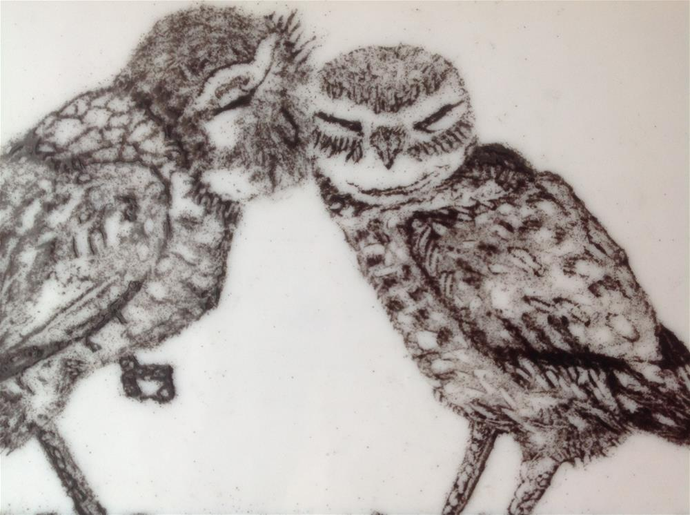 """Kissing Burrowing Owls"" original fine art by Calloway Meiners"