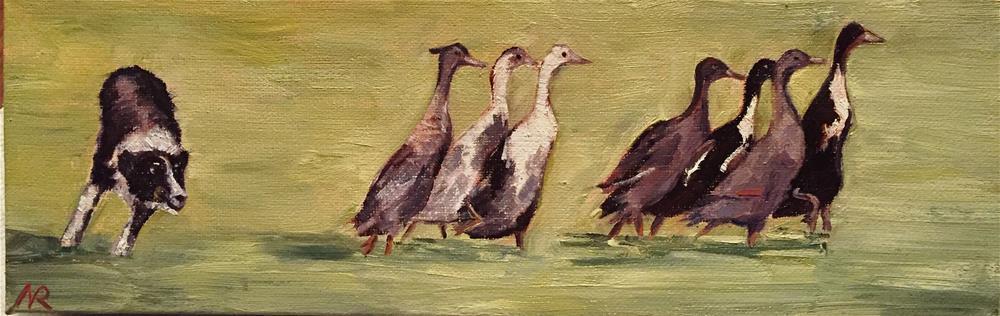 """Geese Chase"" original fine art by Natasha Ramras"