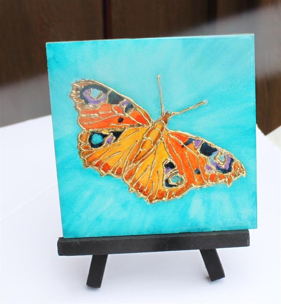 """Peacock Butterfly Miniature"" original fine art by Christiane Kingsley"
