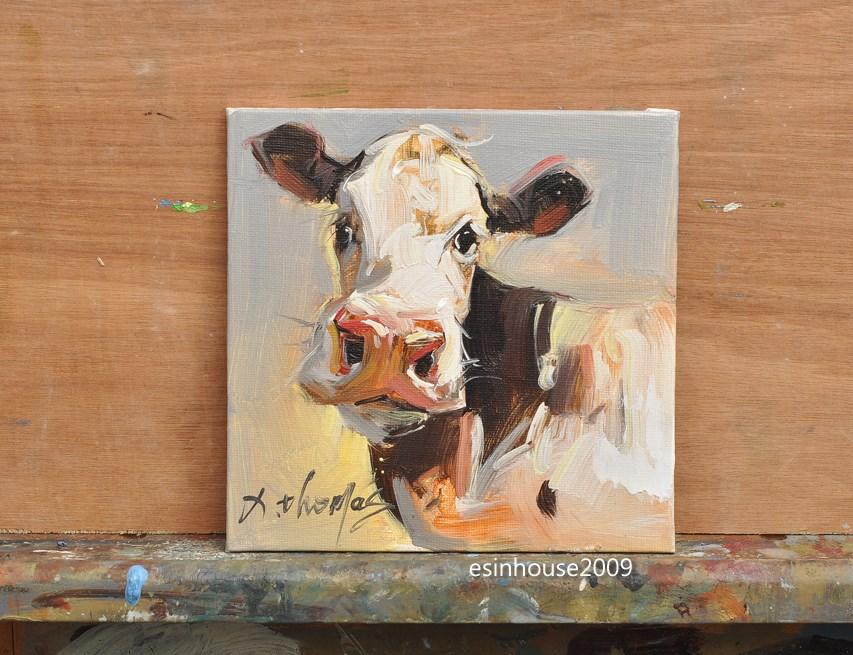 """6x6""Animals Oil Painting Cow portrait Original Painting art impressionism Farm"" original fine art by Thomas Xie"