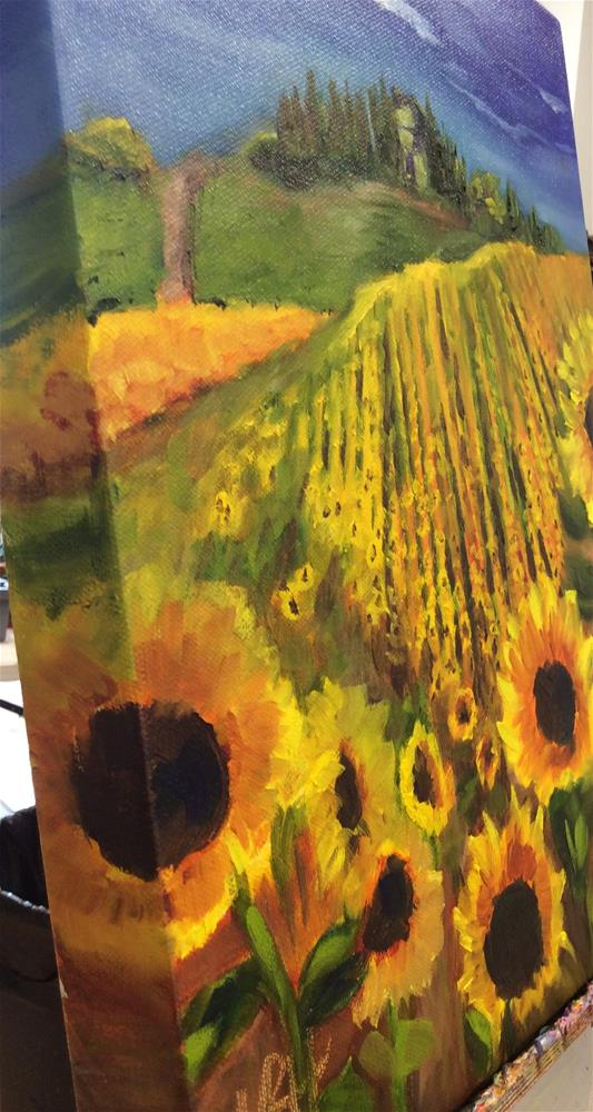"""Italian Sunflower Fields"" original fine art by Molly Rohrscheib Hathaway"