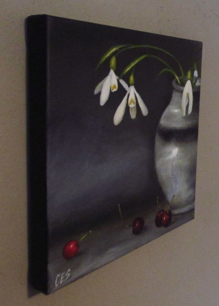 """Snowdrops and Cherries"" original fine art by ~ces~ Christine E. S. Code"