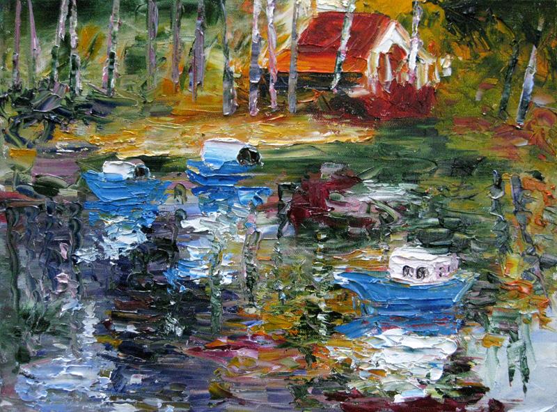 """""""Blue Boats"""" original fine art by Julia Lu"""