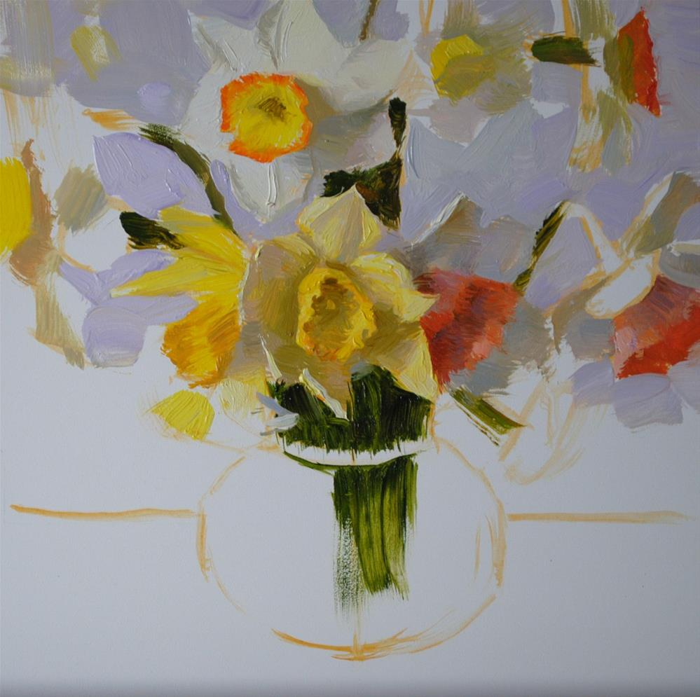 """Daffodils in Glass Vase"" original fine art by Elena Katsyura"