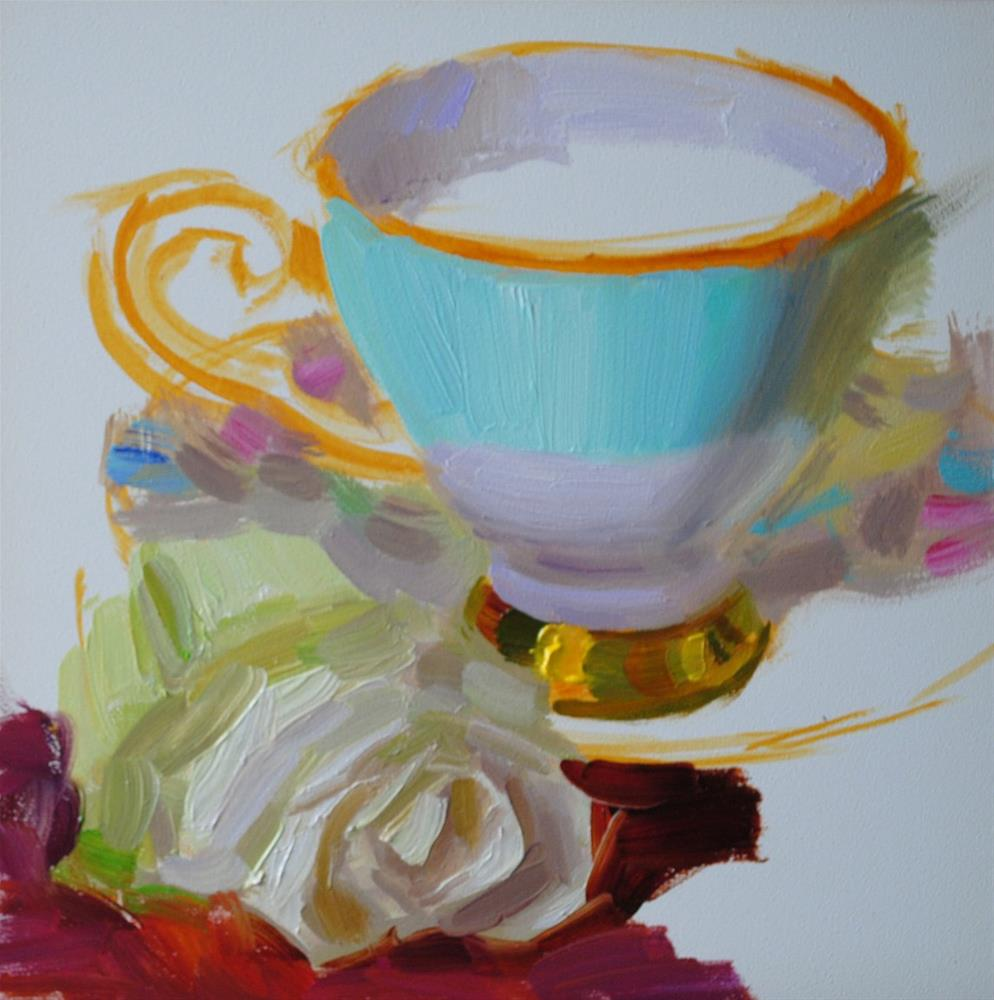 """Turquoise Cup and Rose"" original fine art by Elena Katsyura"