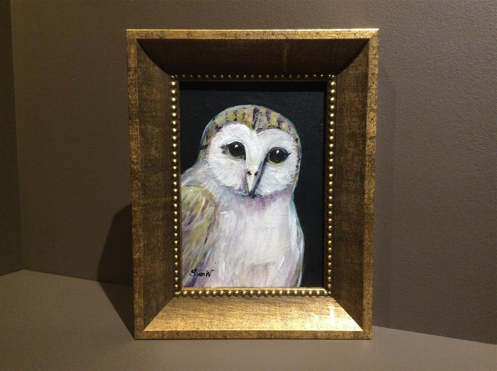 """Owl Painting 2"" original fine art by Sonia von Walter"