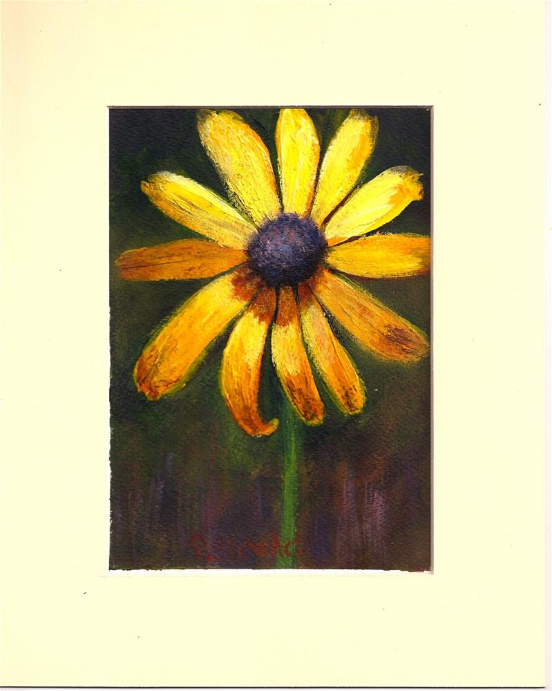 """5x7 Another Sunflower Painting Acrylic SFA heavy paper Matted Penny StewArt"" original fine art by Penny Lee StewArt"
