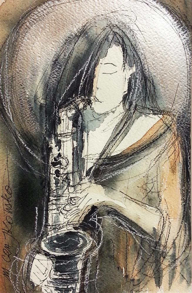 """Saxophonist"" original fine art by Marlena Czajkowska"