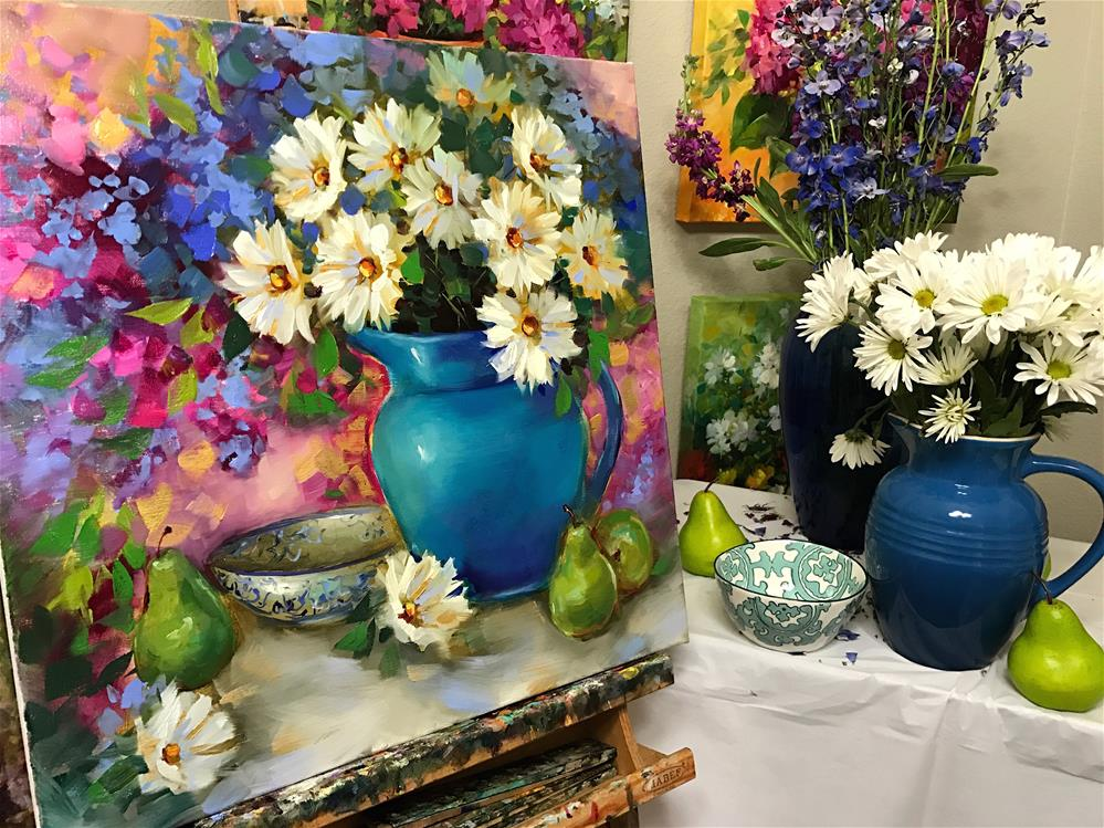 """Daisies and Pears and Delphiniums, Oh My"" original fine art by Nancy Medina"