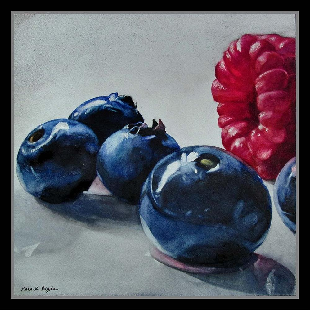 """Raspberry with Blueberries"" original fine art by Kara K. Bigda"