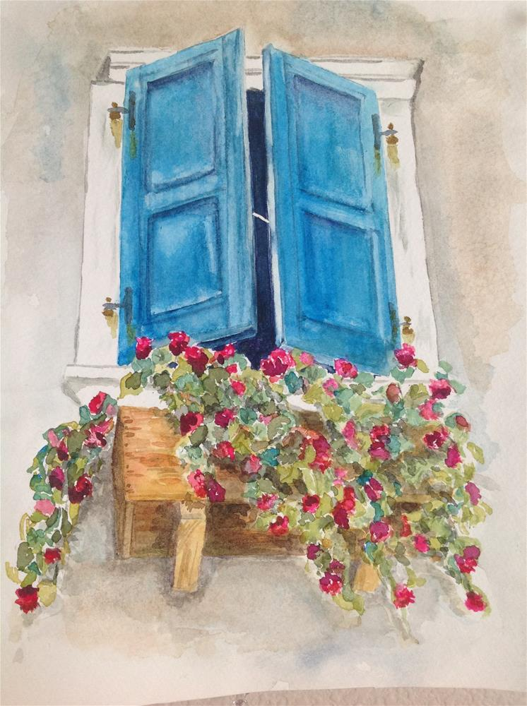 """Blue Window"" original fine art by Linda Sommer"