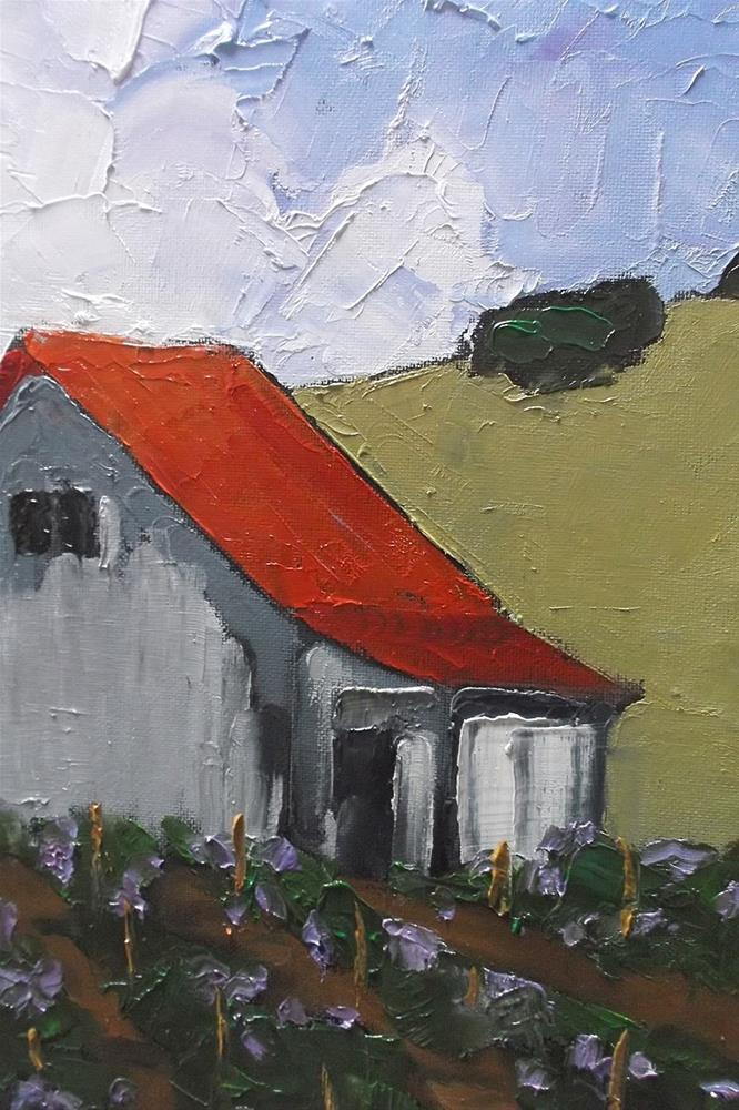 """California Los Altos Hills Vineyard Barn"" original fine art by lynne french"