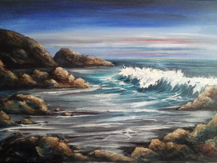 """Night on the Beach"" original fine art by Camille Morgan"