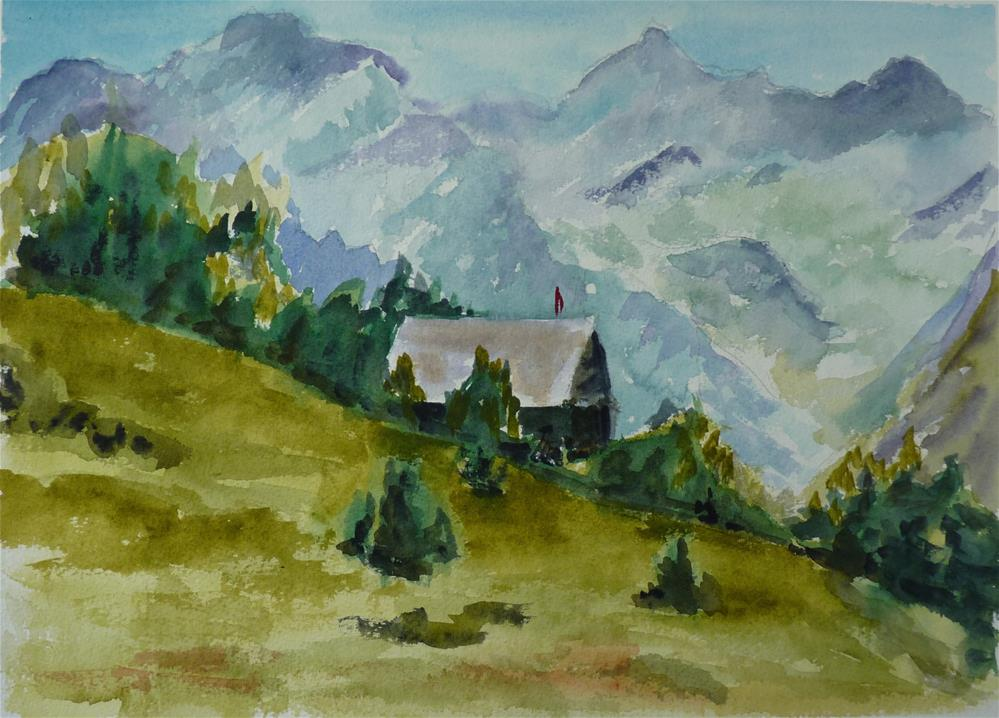 """Mountain Cabin"" original fine art by Kristina Hess"