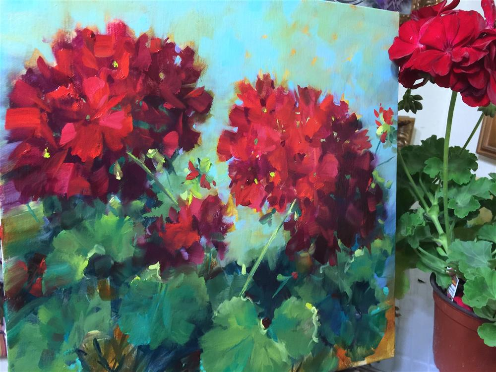 """Spring Online Earlybird Registration Is Open! Hearts in Harmony Red Geraniums"" original fine art by Nancy Medina"