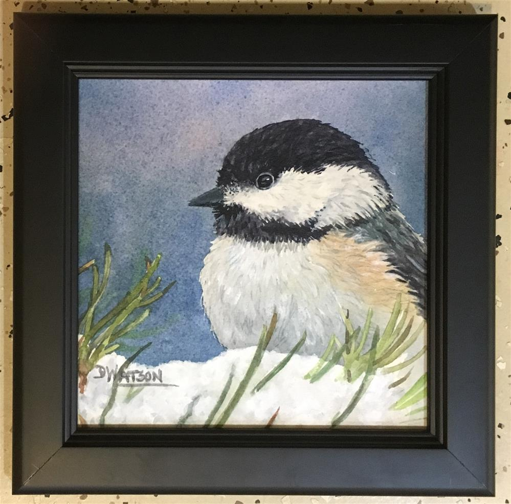 """Chickadee Close up"" original fine art by Deb Watson"