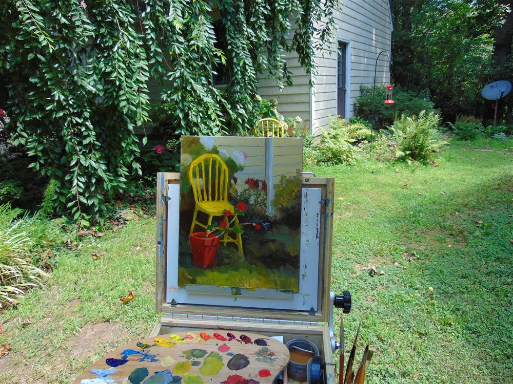 """Yellow Chair and Geranium"" original fine art by Catherine Kauffman"