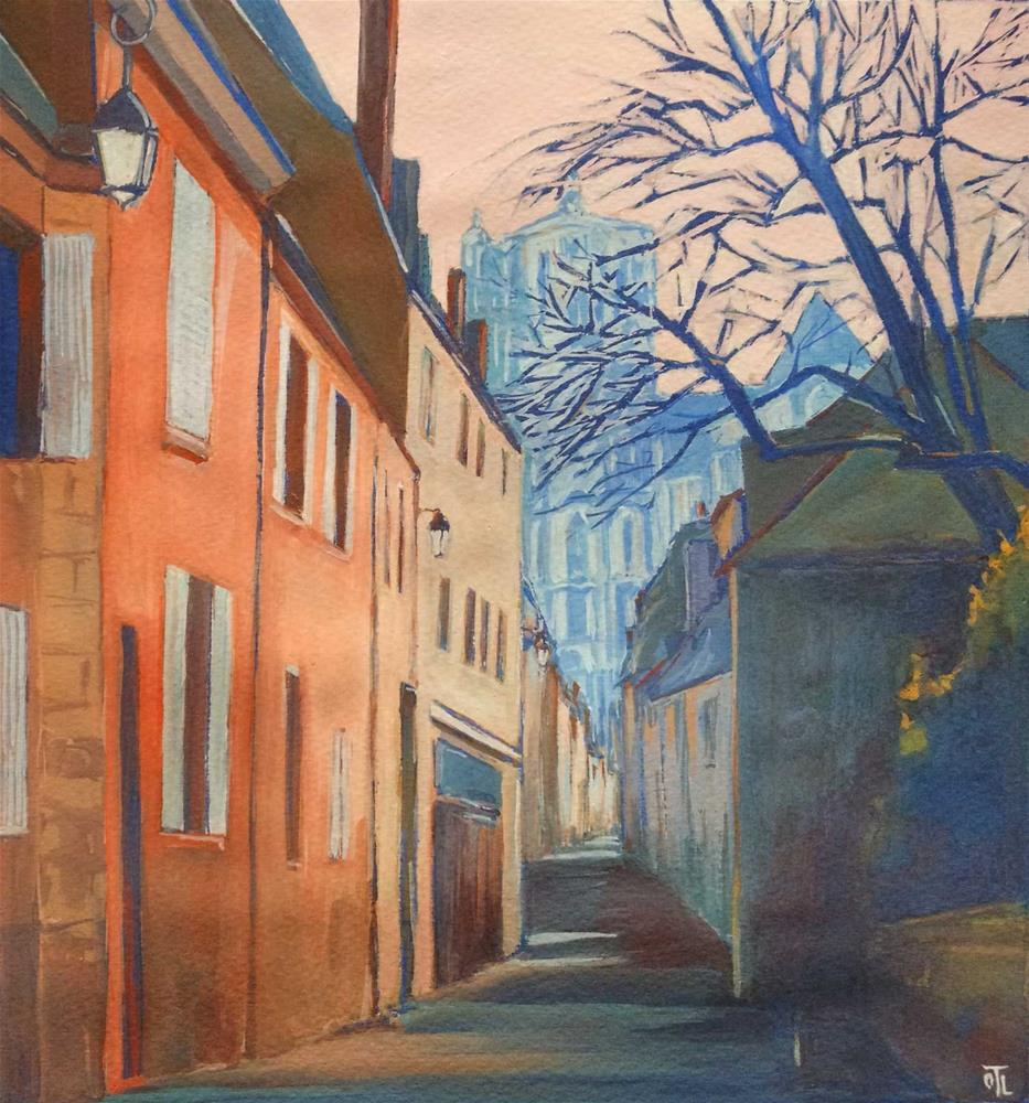 """Bourges, street to the Cathedral"" original fine art by Olga Touboltseva-Lefort"