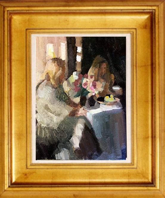 """Girls in shadow"" original fine art by Sally Rosenbaum"
