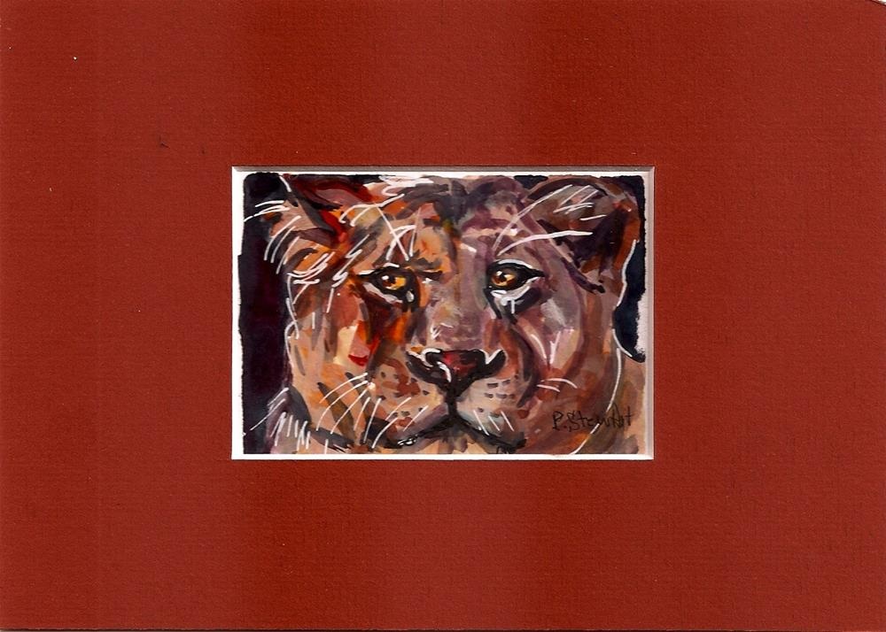 """ACEO Big Cat Watercolor, Pen and Ink Penny StewArt"" original fine art by Penny Lee StewArt"