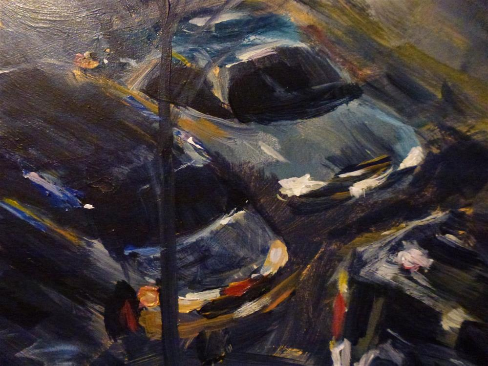 """Traffic on a Rainy Night"" original fine art by Judith Elder"