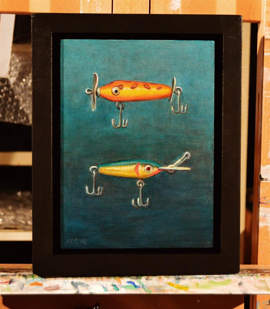 """Two Lures.  Original Oil Painting by Kenneth P. Cobb.  6 x 8 inches"" original fine art by Kenneth Cobb"
