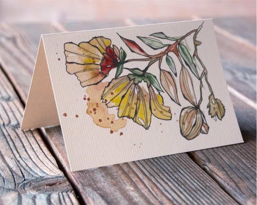 """Golden Bloom card"" original fine art by Tonya Doughty"