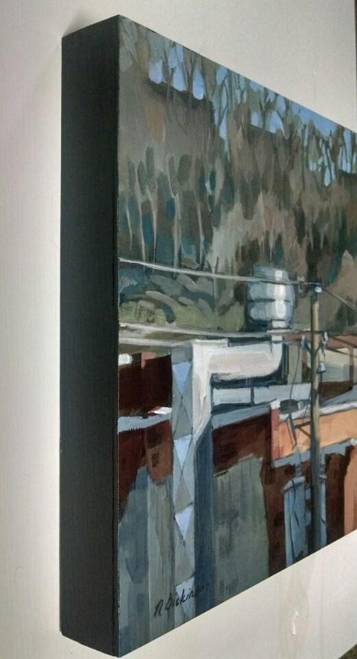 """Behind Doc Chey's"" original fine art by Nat Dickinson"