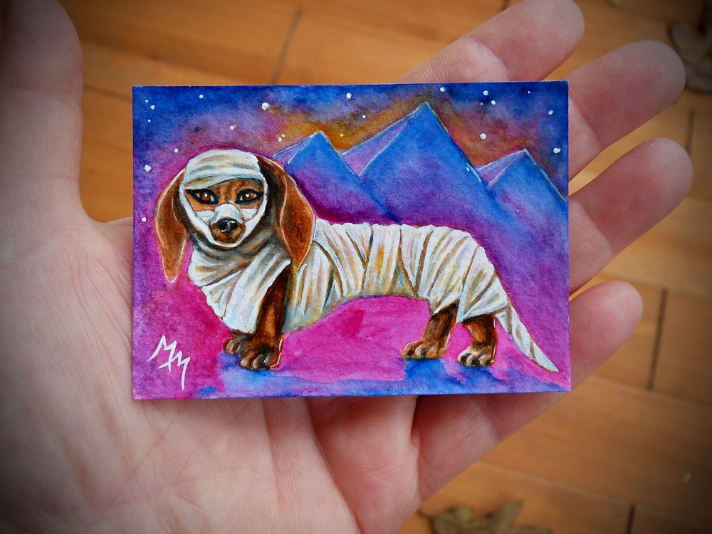 """Mummy Weenie"" original fine art by Monique Morin Matson"