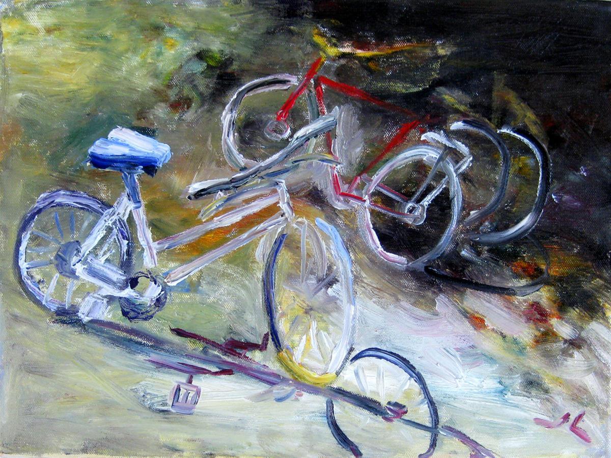 """""""Suzanna's Bikes"""" original fine art by Julia Lu"""
