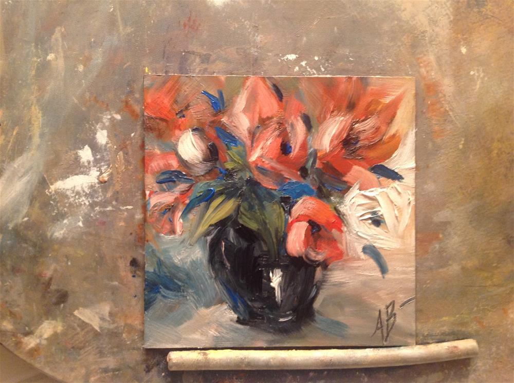 """Floral in Black Vase"" original fine art by Annette Balesteri"