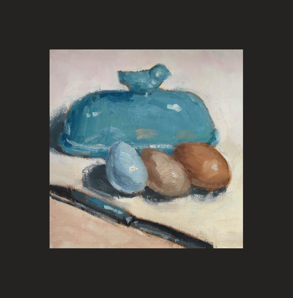 """Blue Bird Butter Dish"" original fine art by Victoria  Biedron"