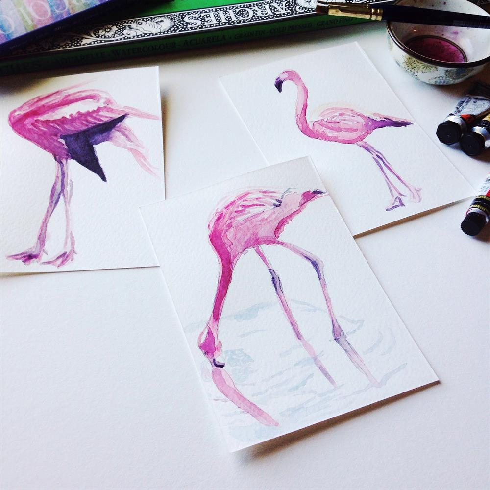 """Full Flamingo study I"" original fine art by D. Renee Wilson"