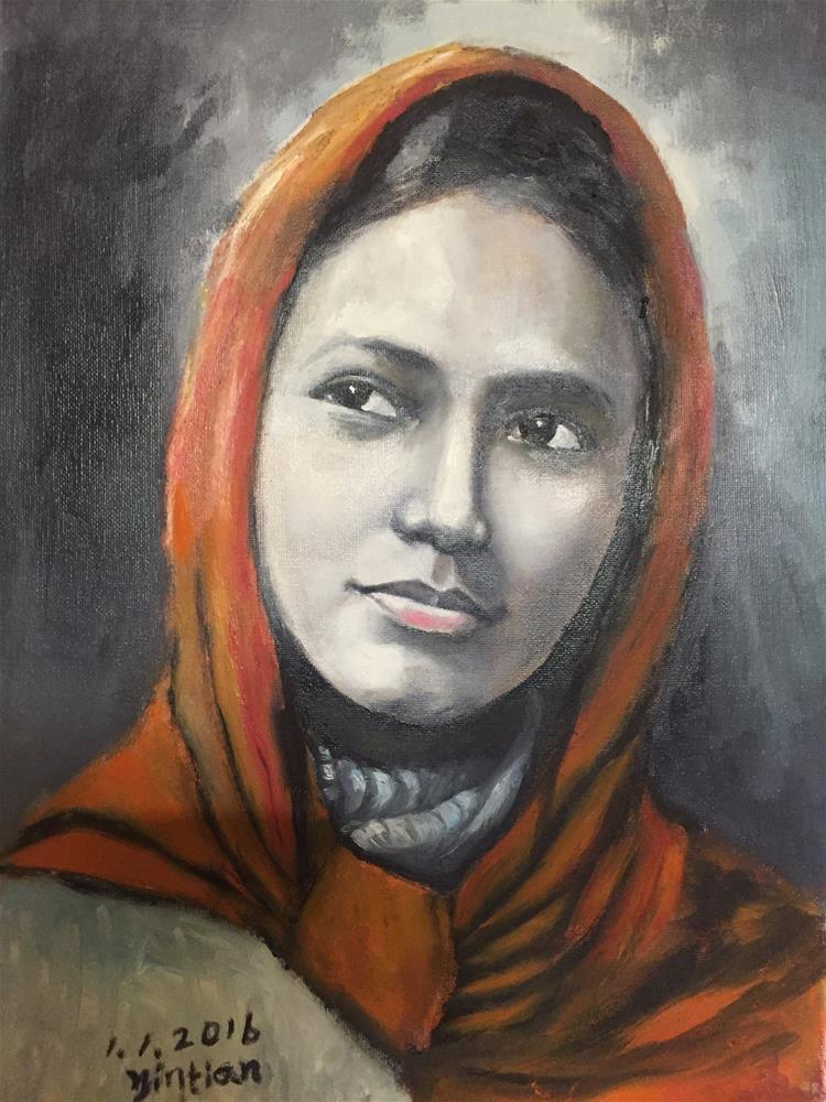 """Pakistan girl"" original fine art by tian yin"