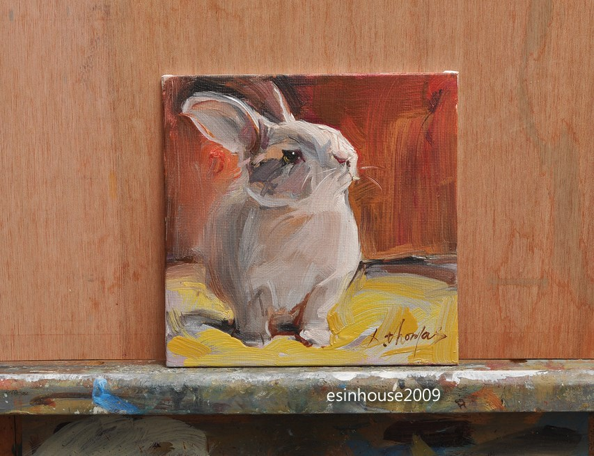"""Cony  rabbit farm animals pet oil painting the origina on canvas panel 6X6"" original fine art by Thomas Xie"