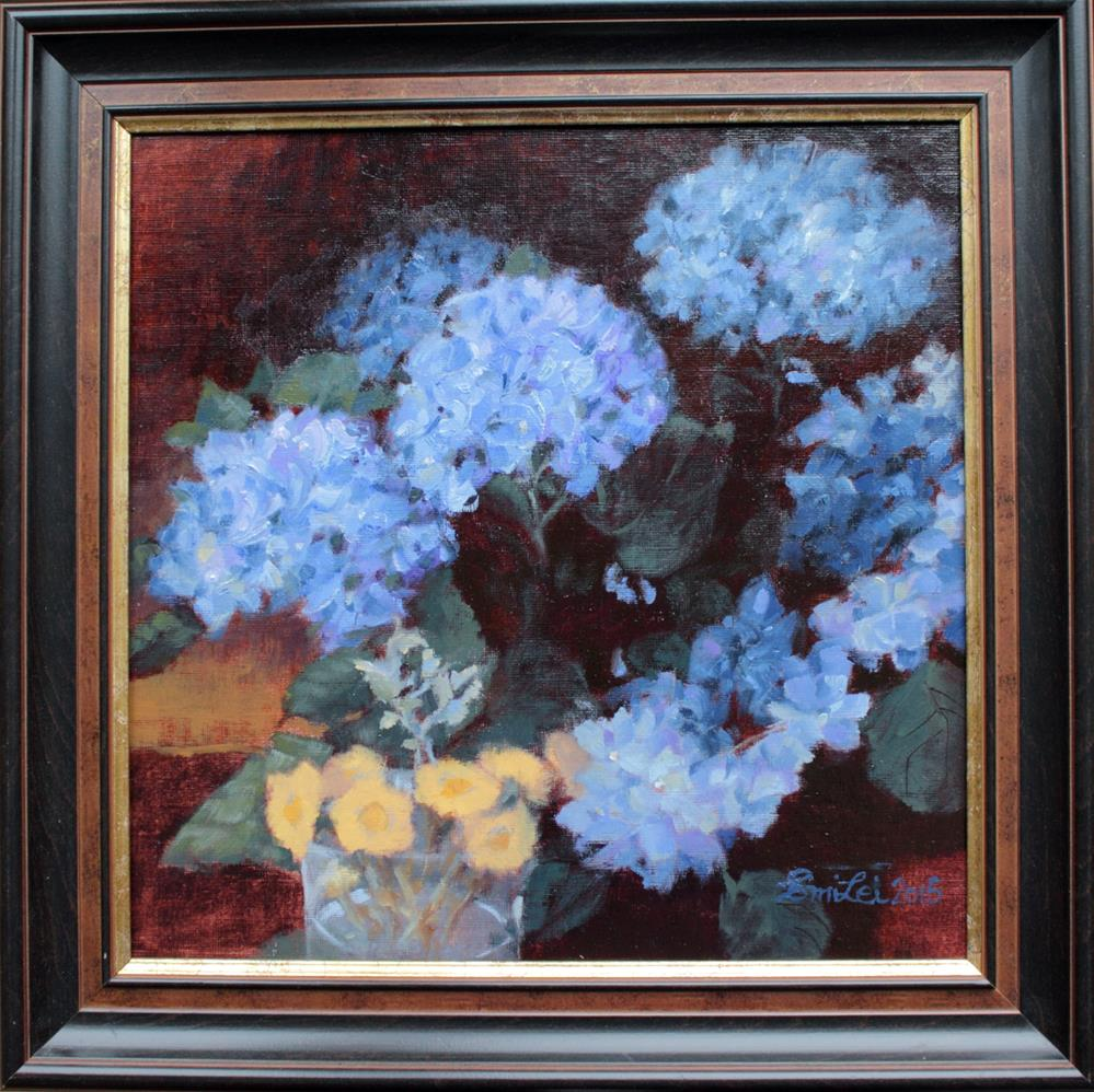"""Hydrangea And Coltsfeet"" original fine art by Emilia Leinonen"