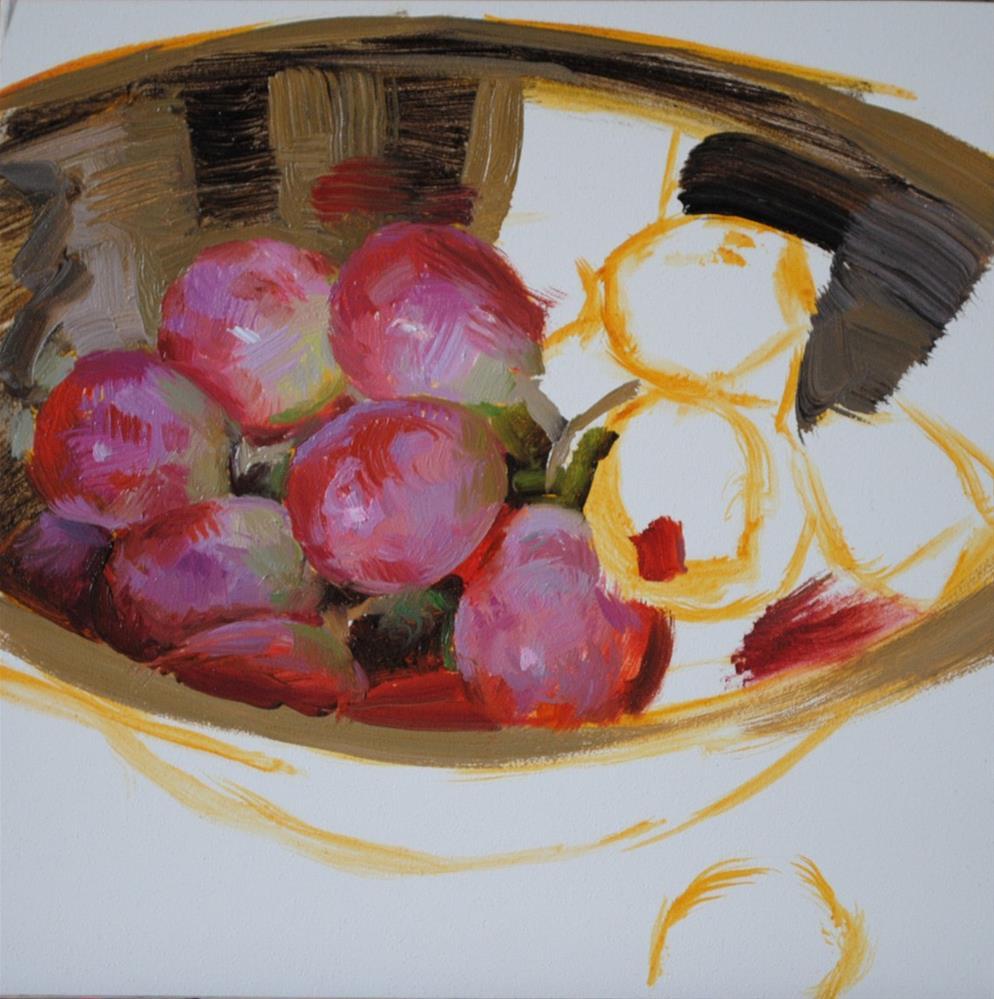 """Red Grapes in Silver"" original fine art by Elena Katsyura"