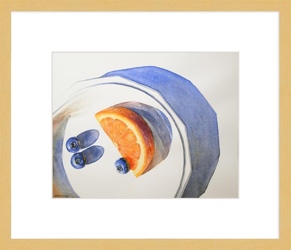 """Orange Wedge With Blueberries II"" original fine art by Kara K. Bigda"