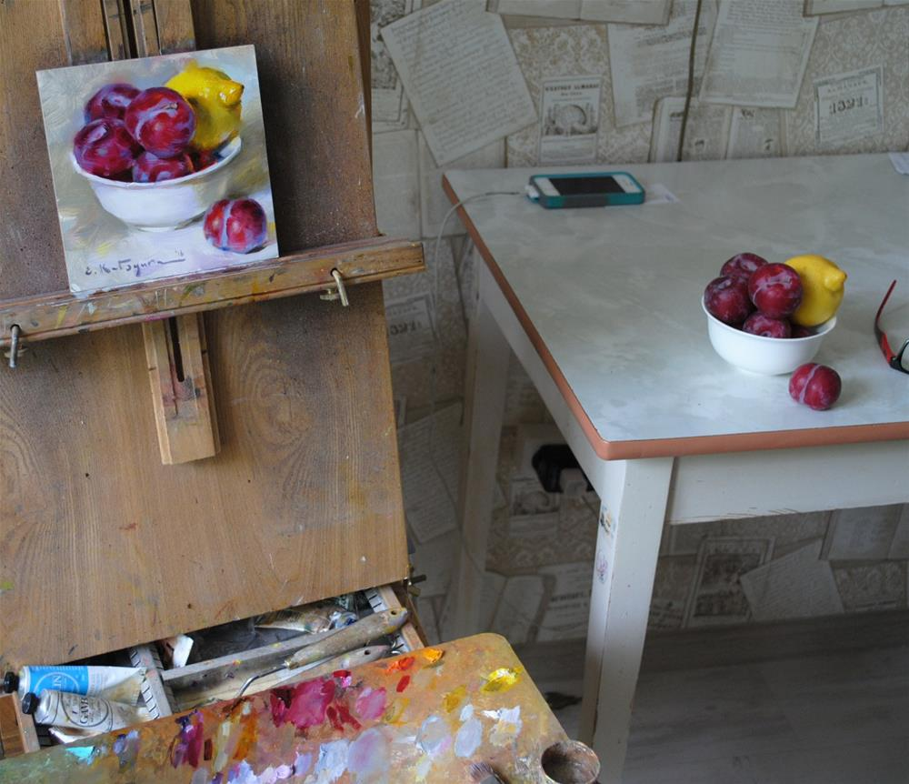 """Summer Fruit Bowl"" original fine art by Elena Katsyura"