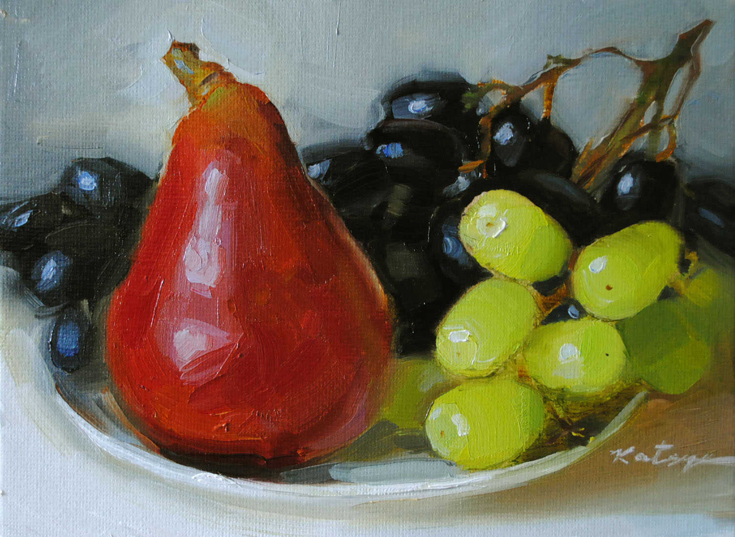 """Red Pear"" original fine art by Elena Katsyura"