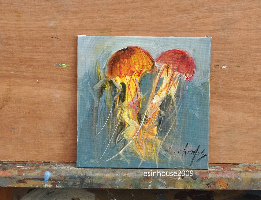 """6x6 Animals Oil Painting fish jellyfish impressionism art Original work"" original fine art by Thomas Xie"