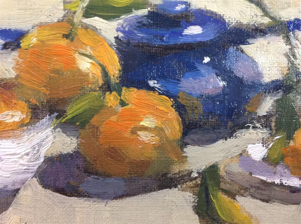 """Blue and orange still life"" original fine art by Christine Bayle"