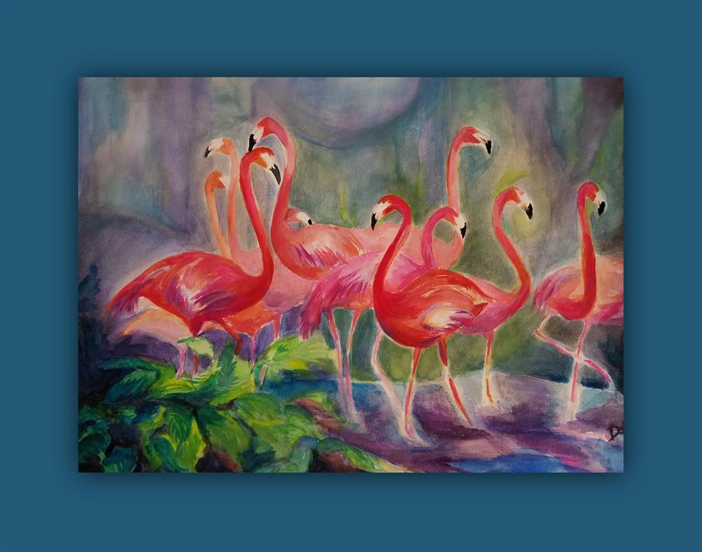 """Flamingo Gathering"" original fine art by Dana C"