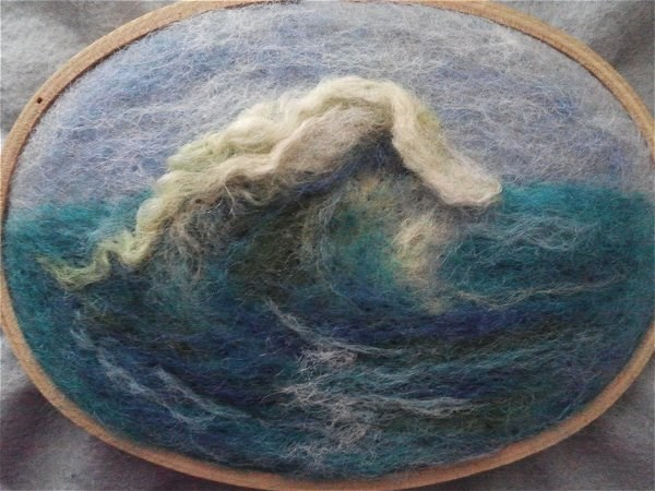 """Needle Felted Wave"" original fine art by Camille Morgan"