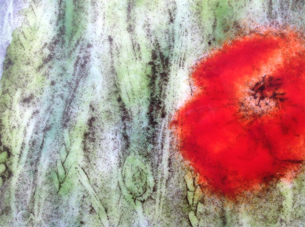 """Poppy in wheat"" original fine art by Calloway Meiners"