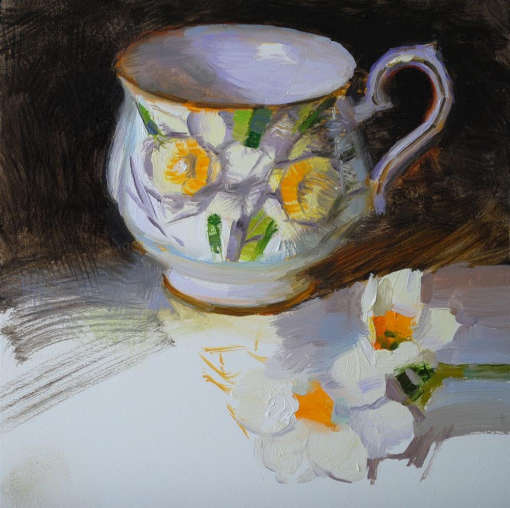 """Daffodil Teacup"" original fine art by Elena Katsyura"