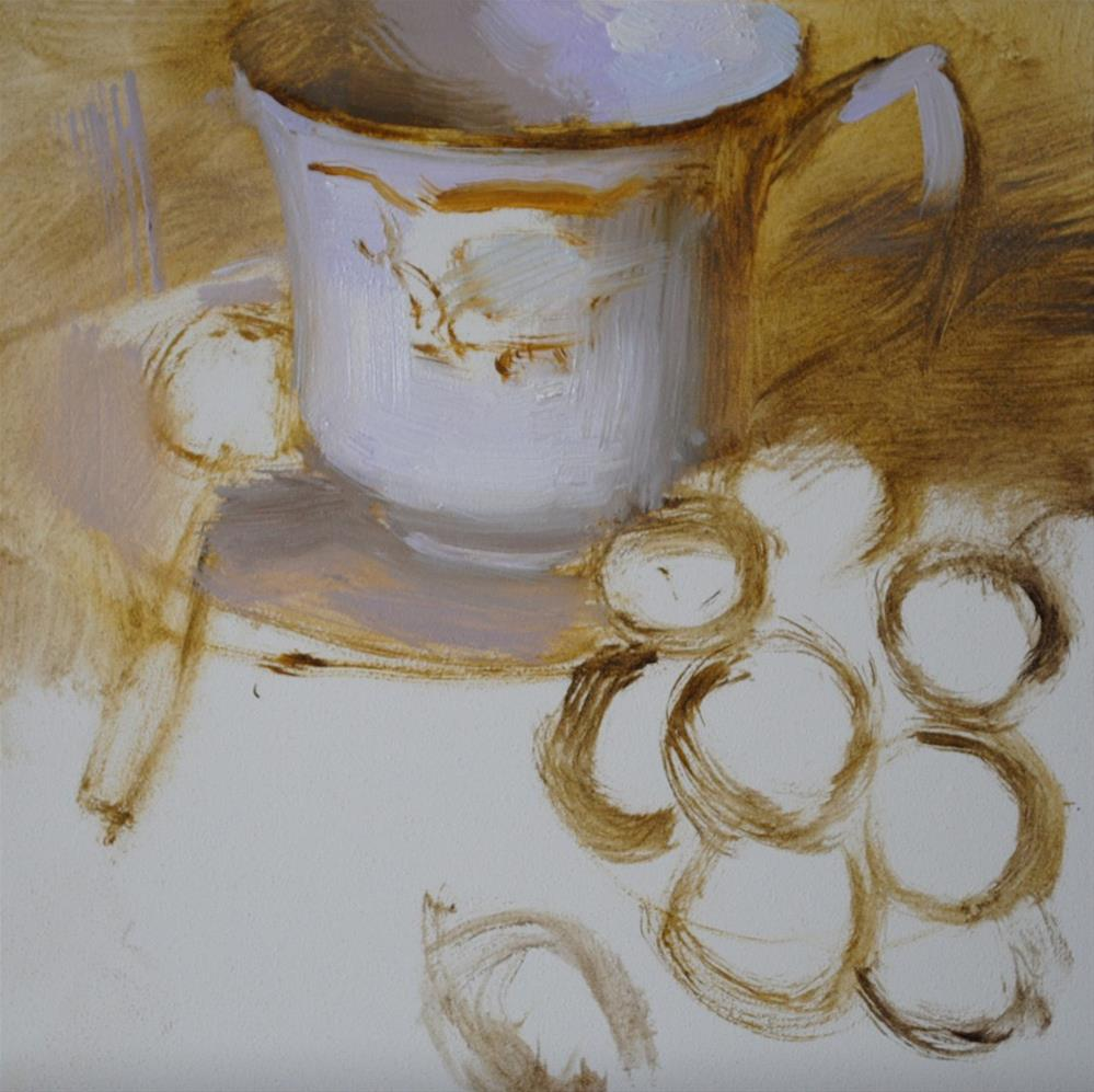 """Teacup and Grapes"" original fine art by Elena Katsyura"