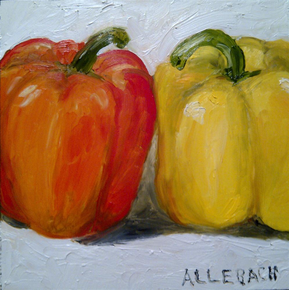 """2 peppers"" original fine art by Jo Allebach"
